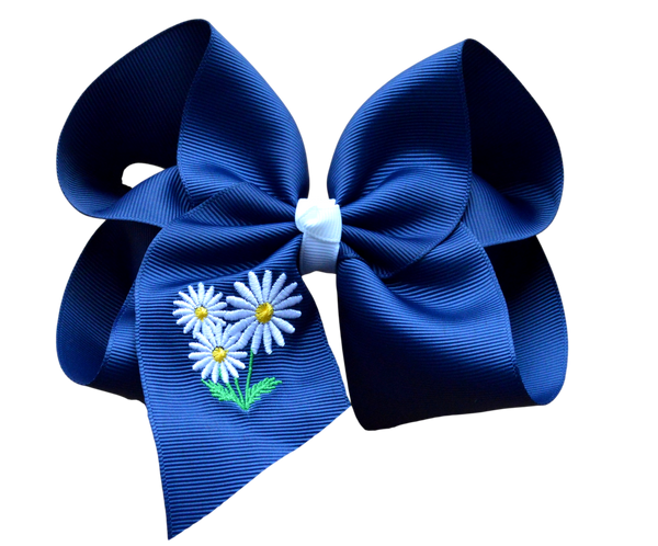 Daisy Embroidered Bow