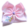 Light Pink Unicorn Sketch Embroidered Bow