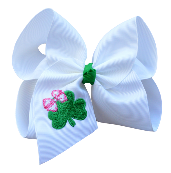 Petite Clover Embroidered Bow