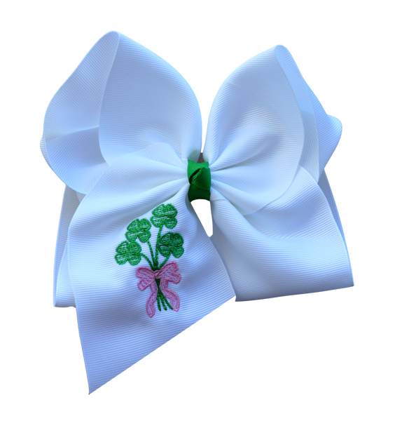 Shamrock Bouquet Embroidered Bow