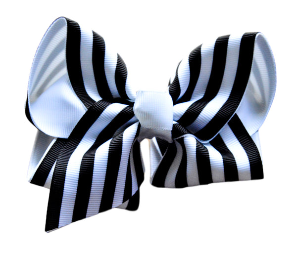 Black and White Striped Layered Bow