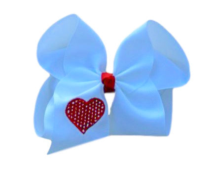 Polka Dot Embroidered Heart Bow