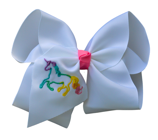 Sweet Unicorn Embroidered Bow