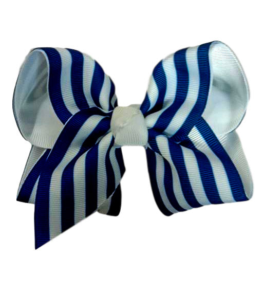 Blue and White Striped Layered Bow