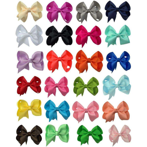 24- 4 Inch Solid Color Hair Bow Set