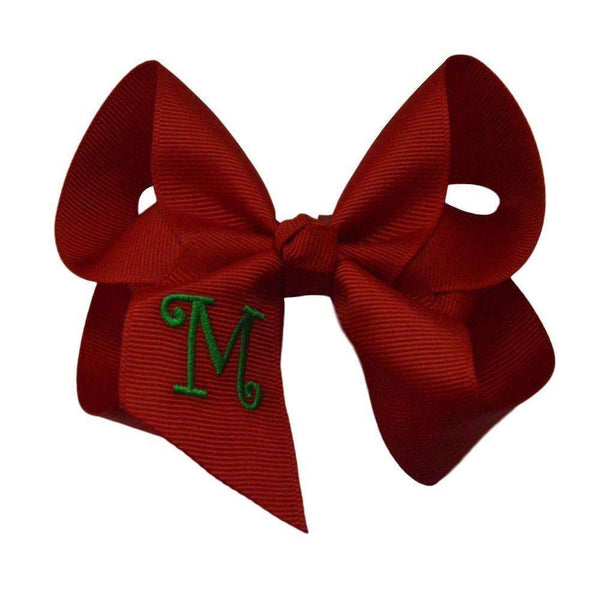 4 inch Red Bow with Green Initial