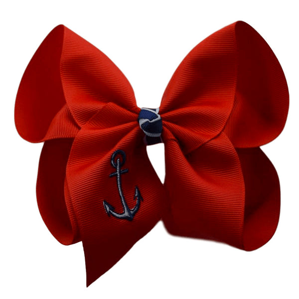 Anchor Embroidered Bow