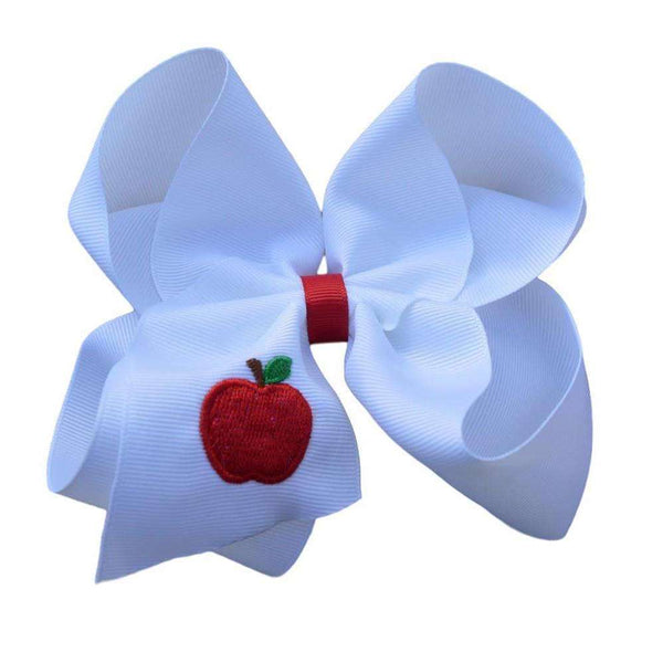 Apple Embroidered Hair Bow
