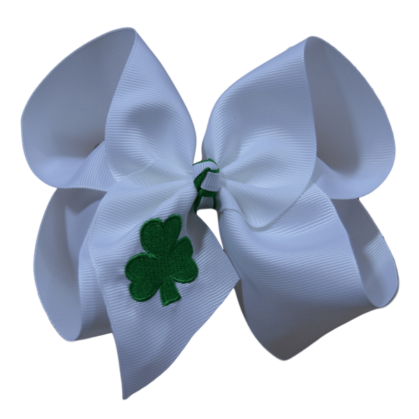 Embroidered Clover Bow