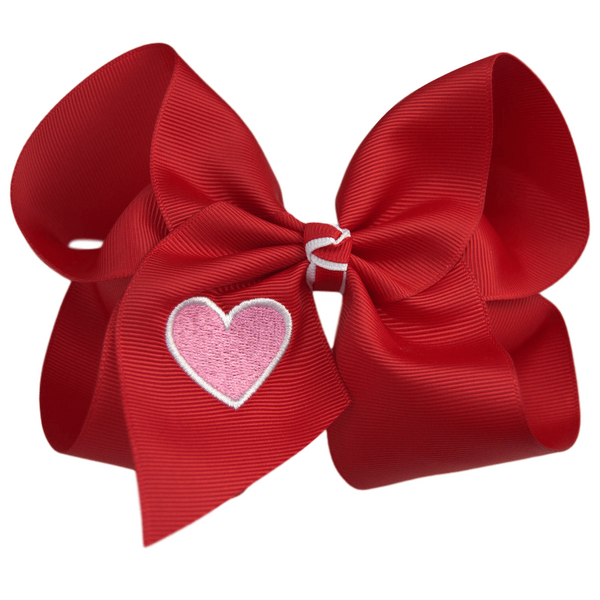 Embroidered Heart Bow