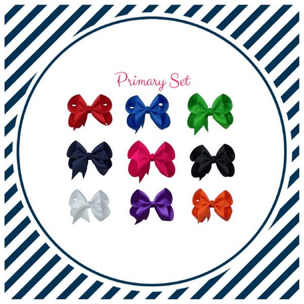 Primary Hair Bow Set