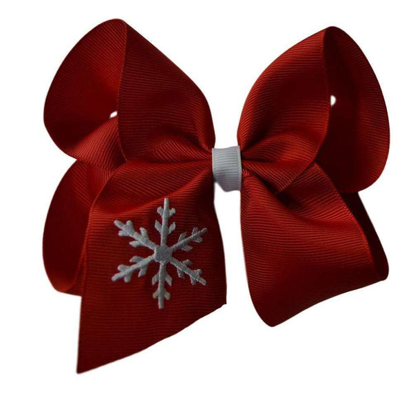 Snowflake Embroidered Hair Bow