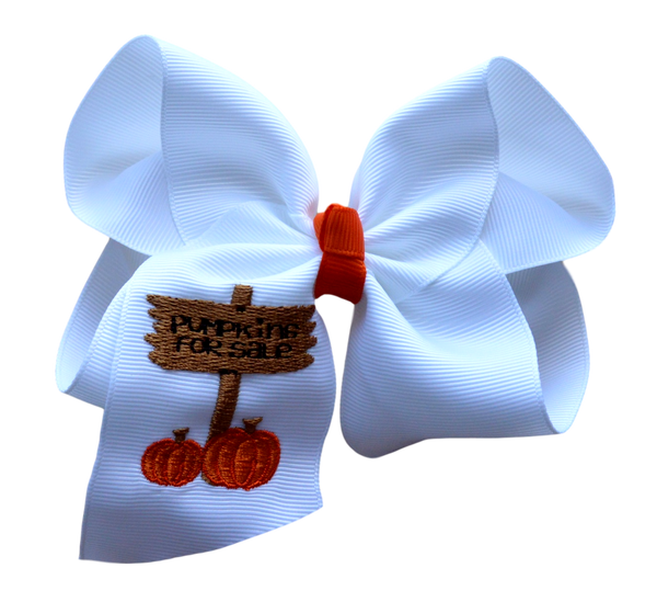 Pumpkin Patch Embroidered Bow