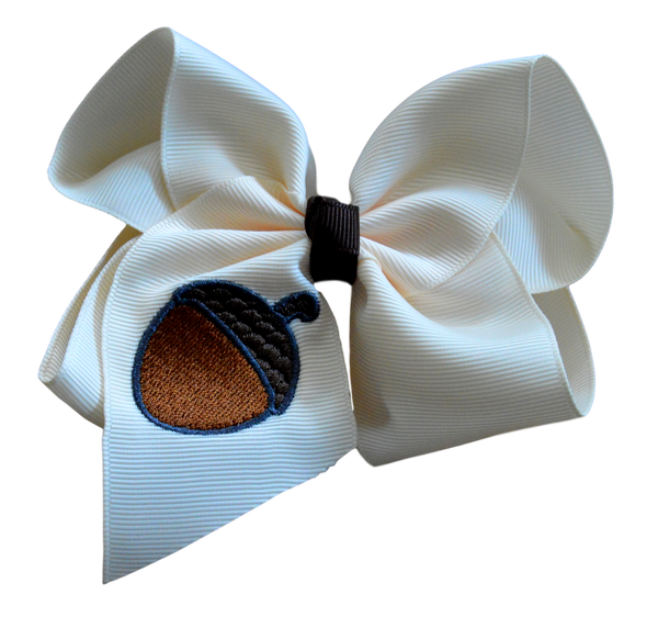 Acorn Embroidered Bow
