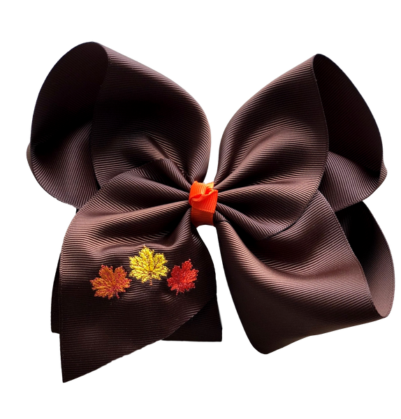 Fall Leaves Embroidered Bow