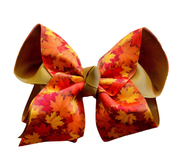 Fall Leaves Layered Bow