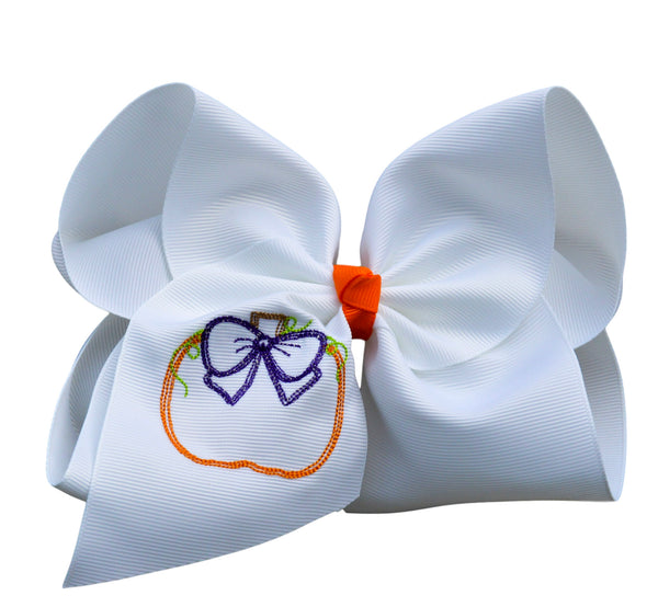 Purple Bow Pumpkin Embroidered