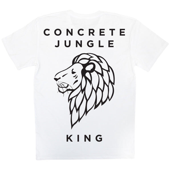 Skate Wear - White Concrete Jungle King Tee - Back