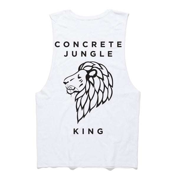 3.5 White Concrete Jungle King Muscle Tee
