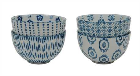 Blue + White Ceramic Bowls [Set of 4] , bowls - creative coop, orchard + olive  - 1