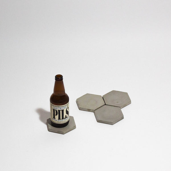 Hexagon Concrete Coasters [Set of 4] , Coasters - Encave, orchard + olive  - 1