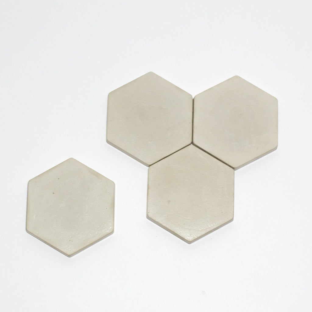Hexagon Concrete Coasters [Set of 4] Stone, Coasters - Encave, orchard + olive  - 2