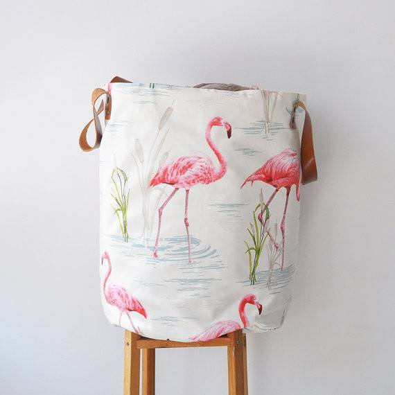 Flamingo Storage Bag with Leather Straps , Hamper - Love Joy Create, orchard + olive