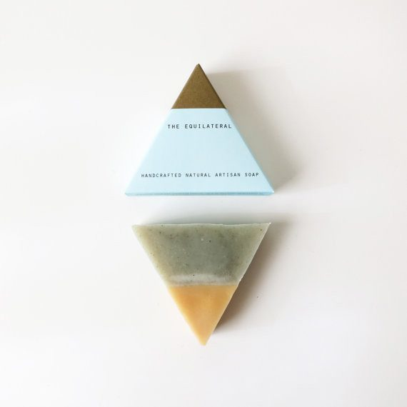 Geometric Natural Scented Soaps Blue Gold, Soaps - Bar Soap Brooklyn, orchard + olive  - 1