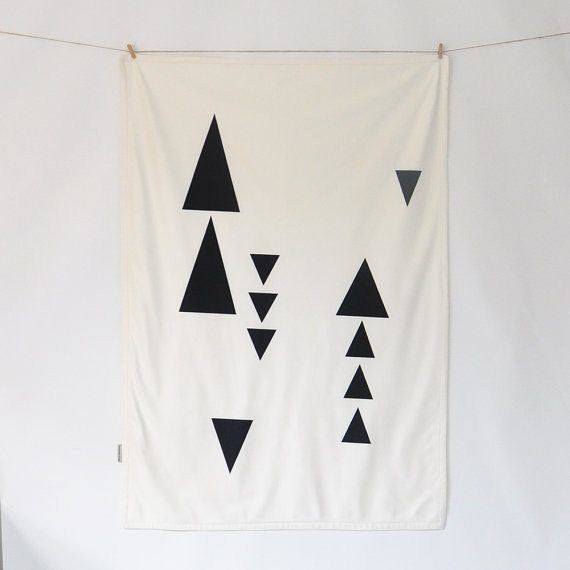 Throw Blankets Geometric Triangle, Throw Blankets - Love Joy Create, orchard + olive  - 1