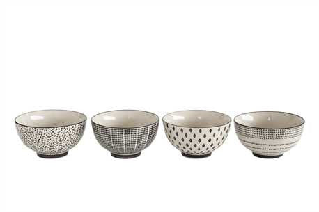 Black + White Ceramic Bowls [Set of 4] , bowls - creative coop, orchard + olive  - 1