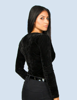 KRIOSWEAR Black Velvet cross over bodysuit back