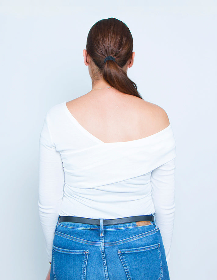 KRIOSWEAR White assymetric Top back