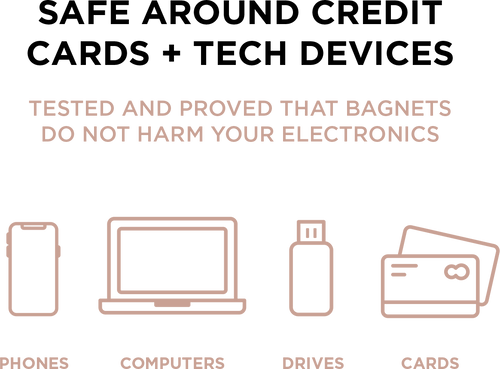 Tested and proven that Bagnets do not harm your electronics, including phones, computers, drives, and cards