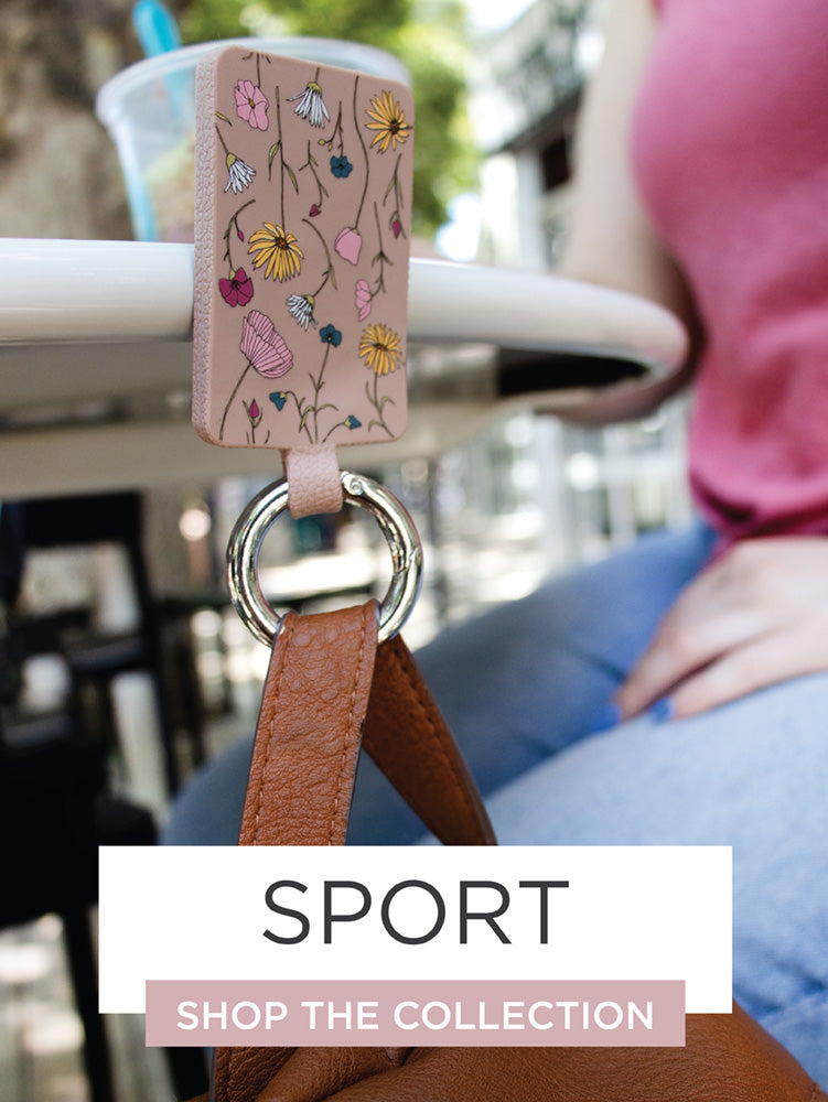Sport Bagnet hanging on metal stool with purse