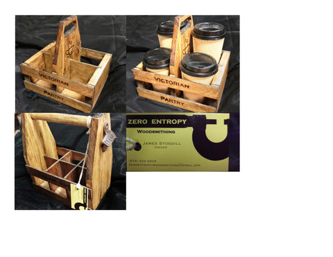 Handmade Wood Tote for Coffee, Beer, Wine, Soda
