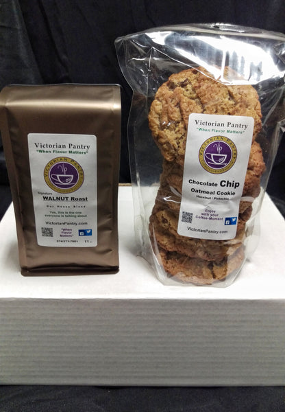 Coffee 1 ea. 9-11 oz. Bag + 1 ea. 6 ct. bag Chocolate Chip Oat Hazelnut Pistachio Cookies    Gifts