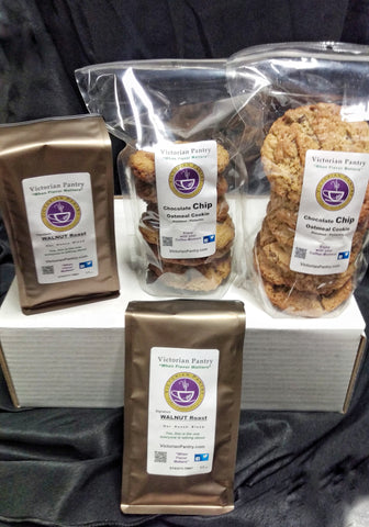 Coffee 2 ea. 9-11 oz. Bag + 2 ea. 6 ct. bag Chocolate Chip Oat Hazelnut Pistachio Cookies    Gifts