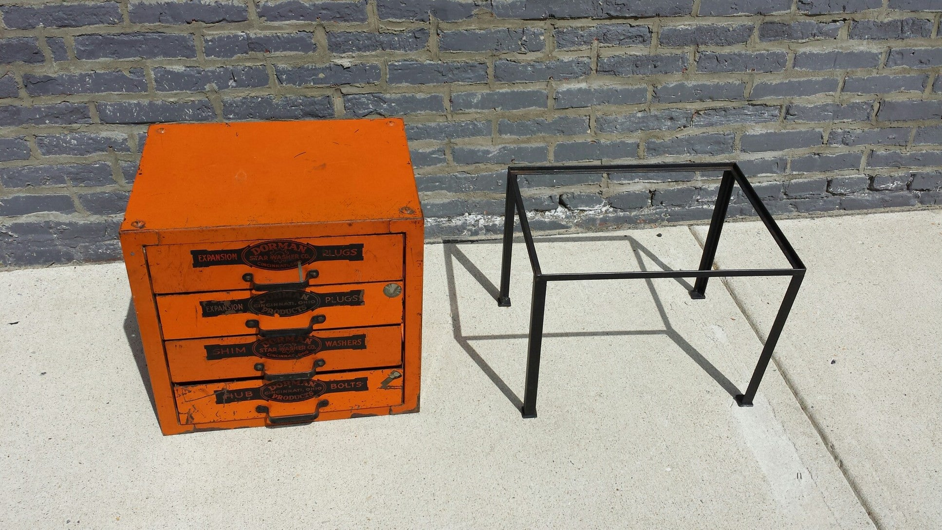 Industrial Dorman Electric Box Table w Custom Base - Barefoot Dwelling