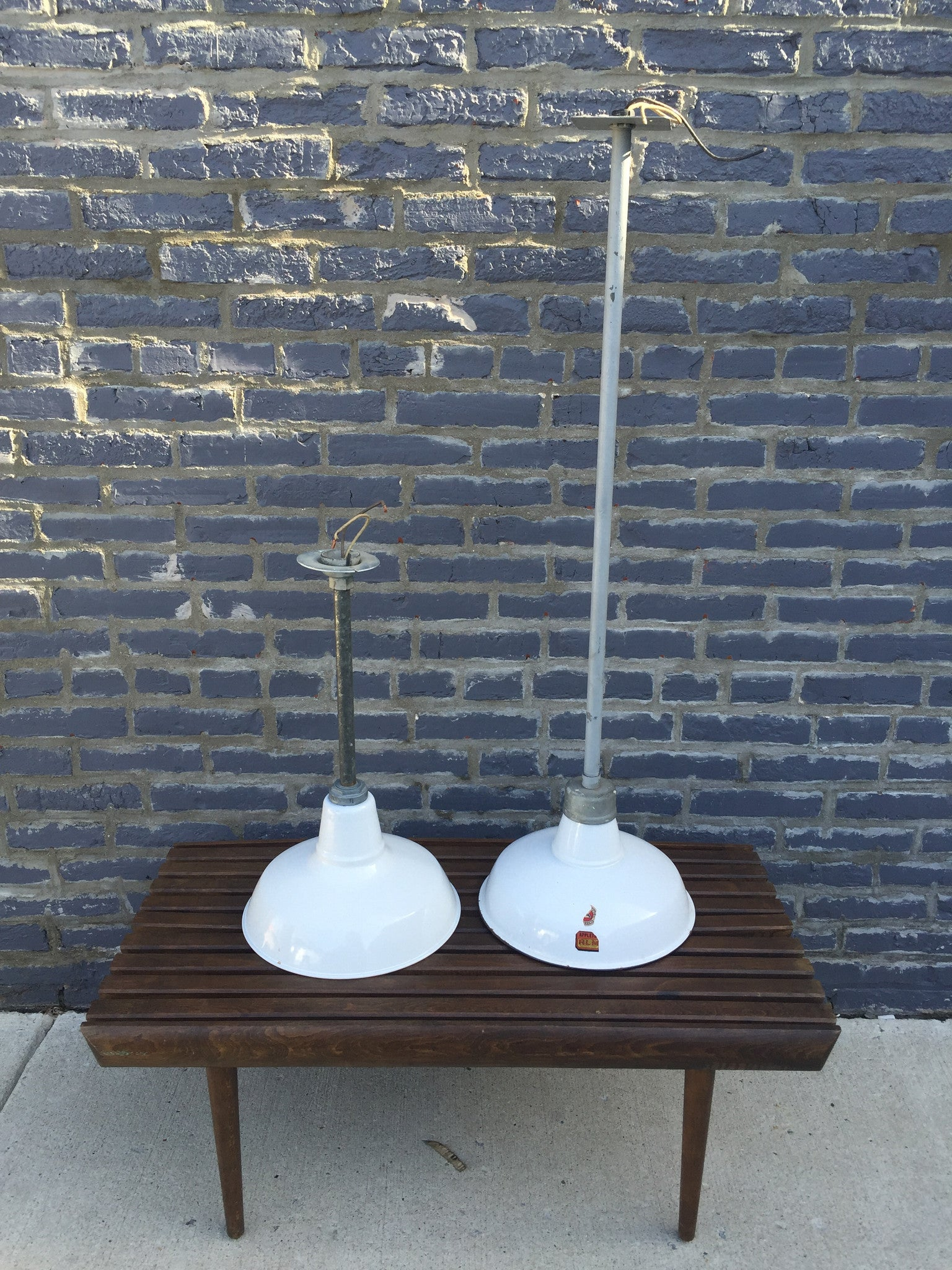 Industrial White Pendant Light - Long - Barefoot Dwelling