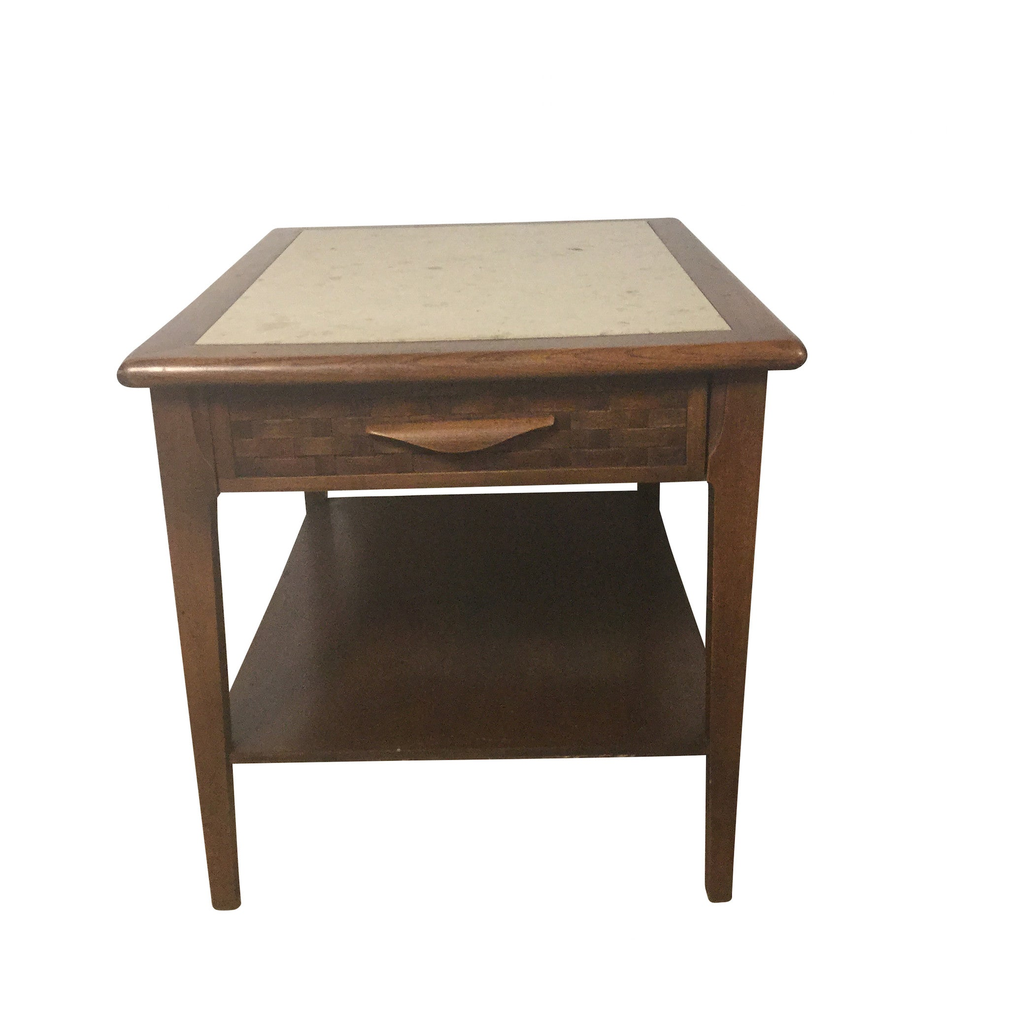 Wood and Travertine End Table - Barefoot Dwelling
