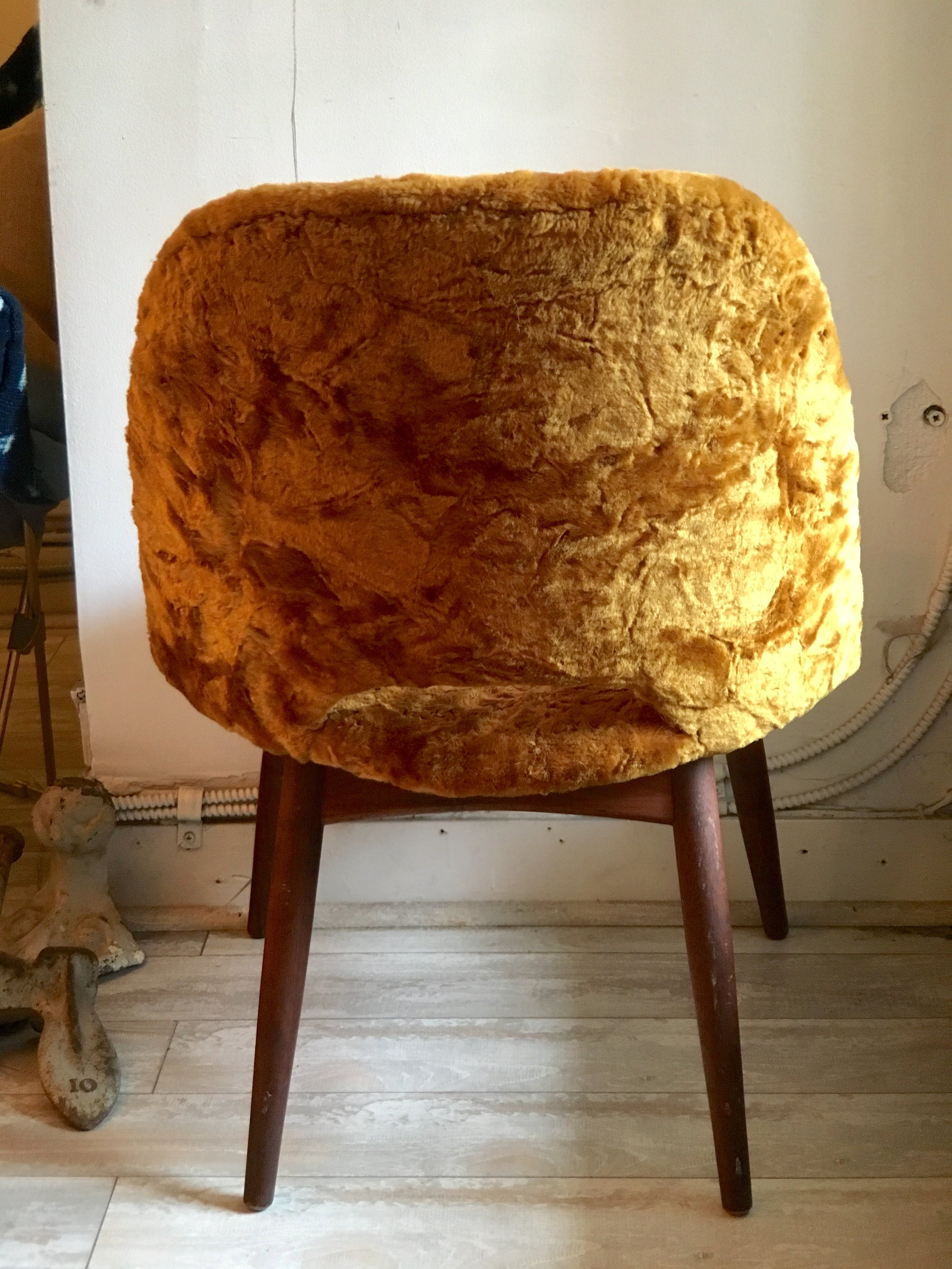 Mustard-Yellow Crushed Velvet MCM Chair (In-Store)