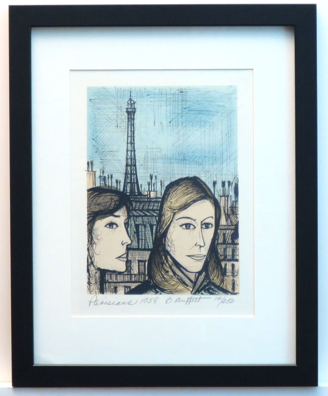 "Bernard Buffet Lithograph Signed ""The Parisians"" - Barefoot Dwelling"