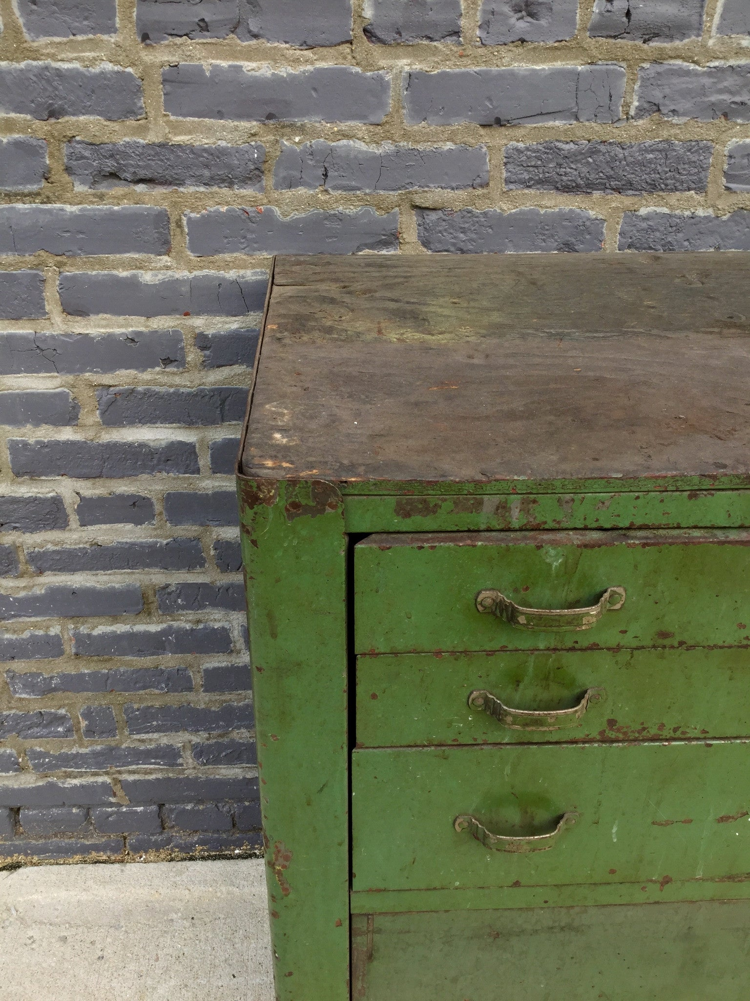 Industrial Green Cabinet on Casters - Barefoot Dwelling