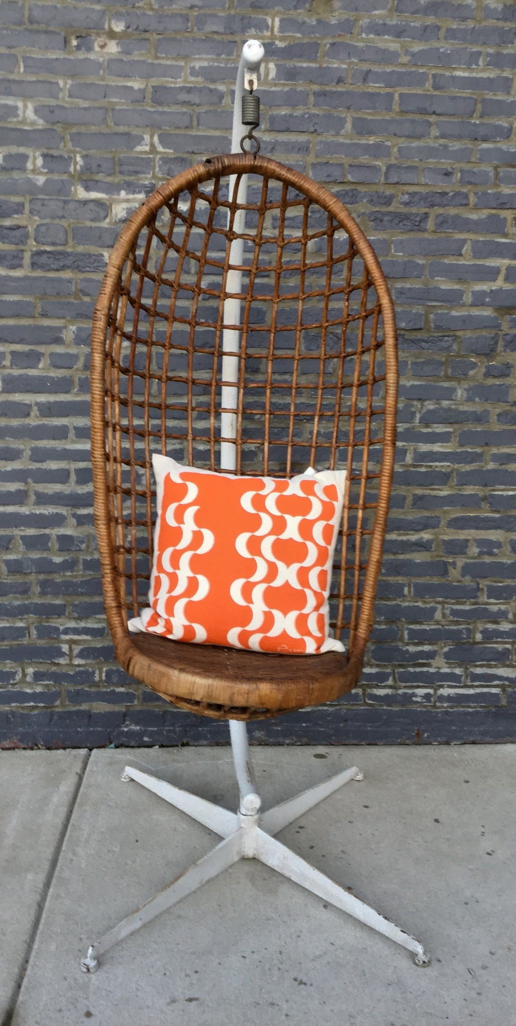 Vintage Rattan Hanging Chair On Stand - Barefoot Dwelling