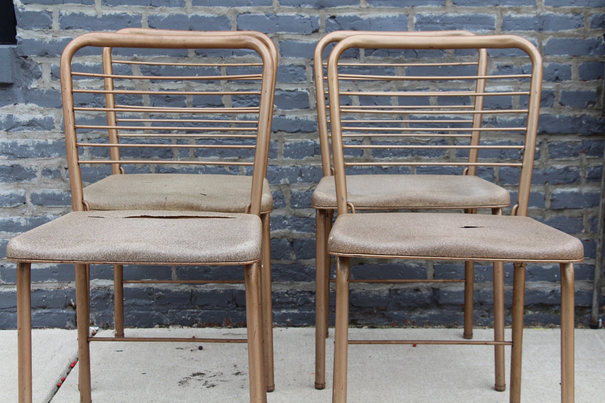 Vintage Metal Folding Chairs Set of 4 Barefoot Dwelling