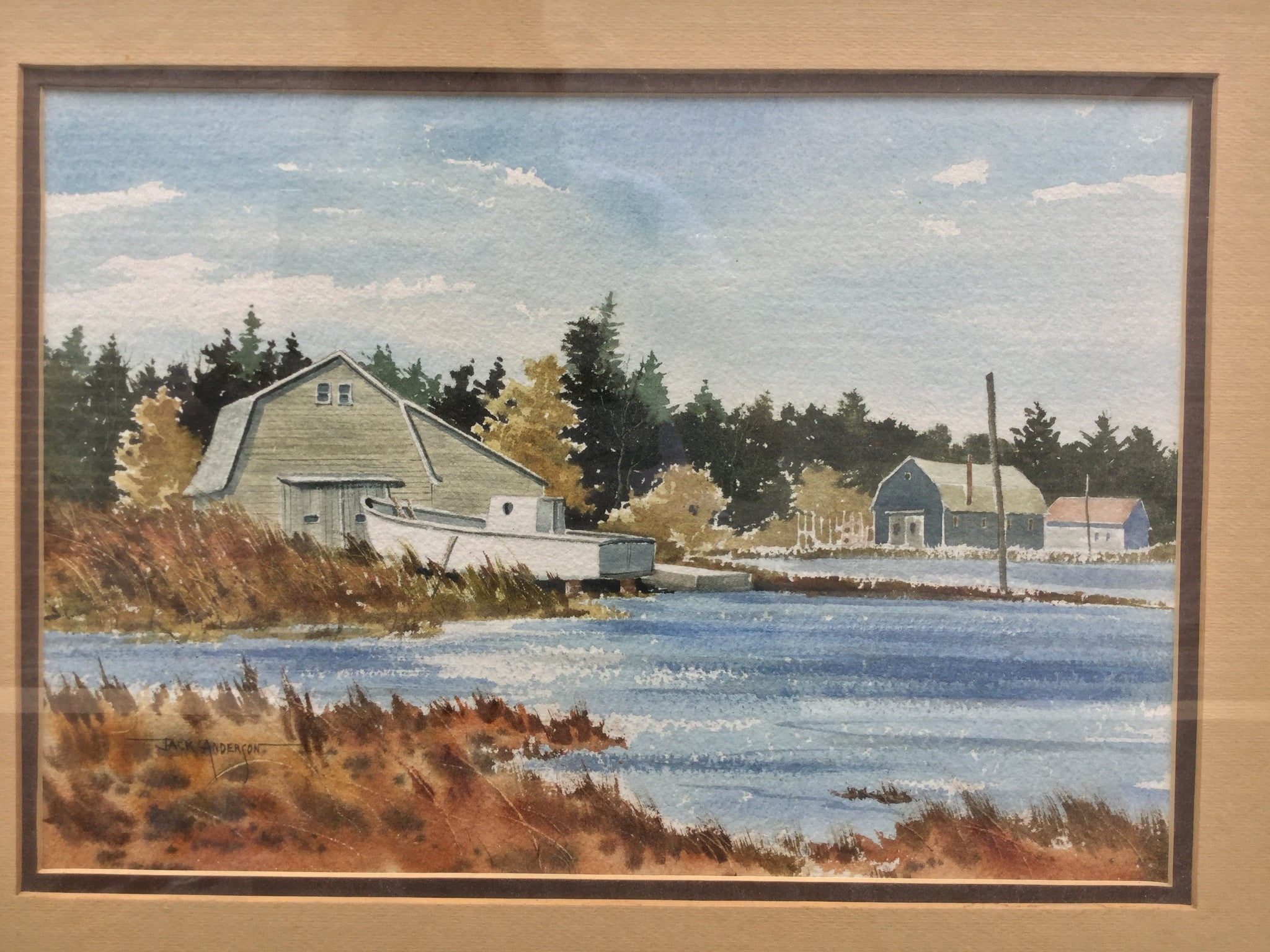 Coastal Barn Original Watercolor - Barefoot Dwelling