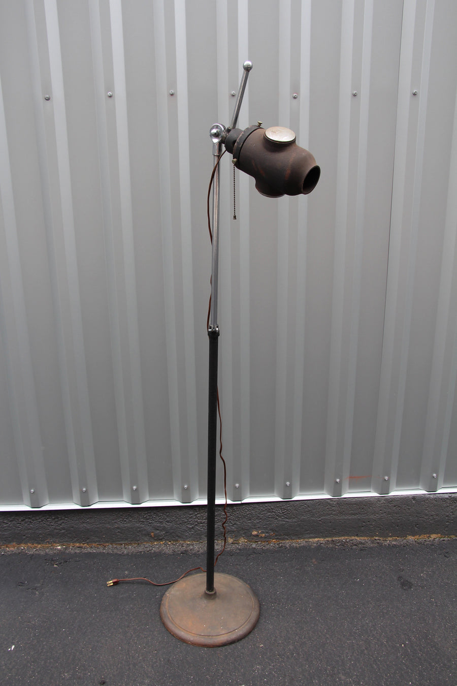 Vintage Industrial Stage Floor Lamp With Lens - Barefoot Dwelling