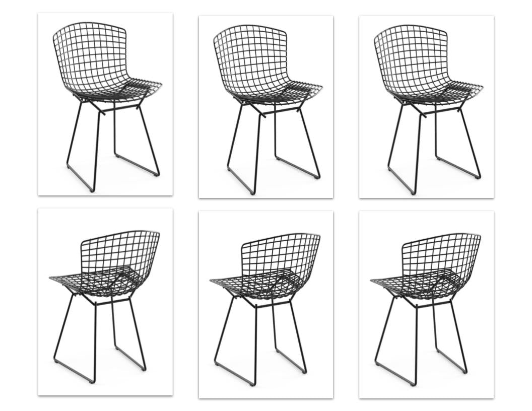 Set of 6 Vintage Bertoia Chairs