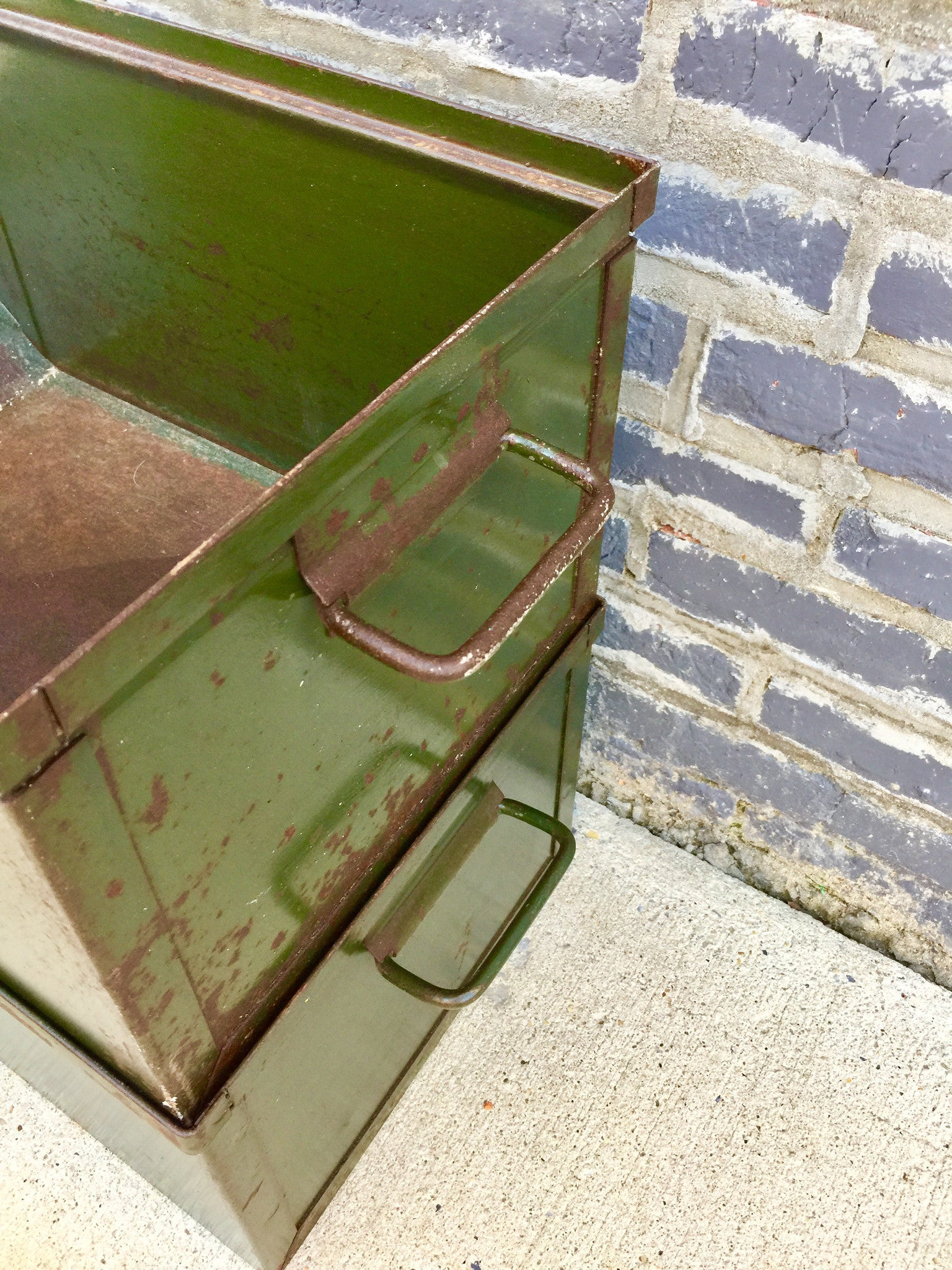 Vintage Green Industrial Storage Box - Barefoot Dwelling