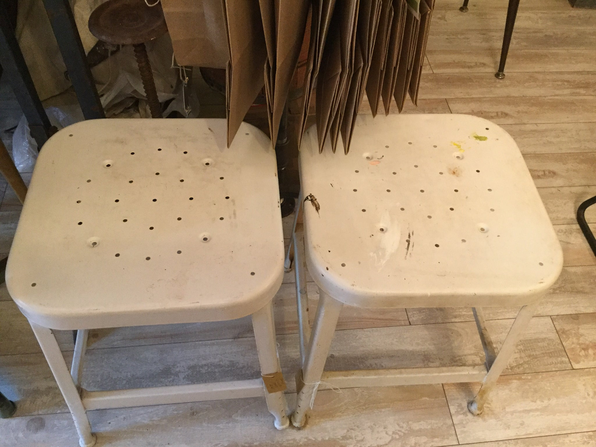 Set of 2 Vintage White Stools